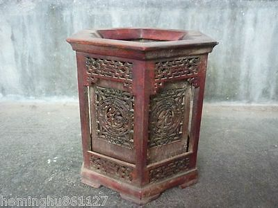 Antique Chinese ancient scholars collect woodcarving hollow out brush pot