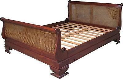 5' King Size Rattan Sleigh Bed Solid Mahogany Hand Carved Traditional NEW B012