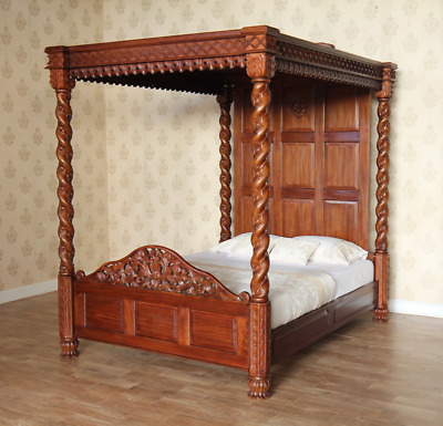 Solid Mahogany Janna Four Poster Bed 6' Super King Hand Carved Traditional B019