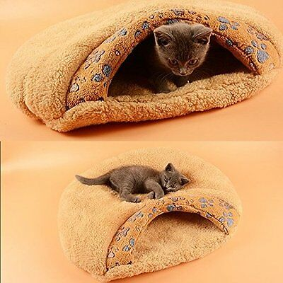 Brown Pet Bed Soft Warm Dog Cat Sleeping Bag Kitten Cave Igloo Nest
