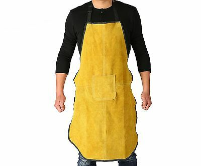 Ouzong Cowhide Leather Welding Bib Apron Heat Flame Resistant Apron With Pock...