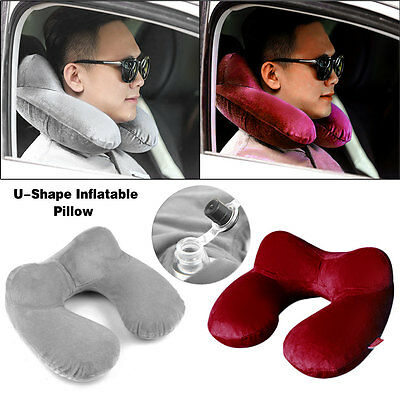 Portable U-Shape Inflatable Soft Travel Neck Head Support Cushion Rest Pillow