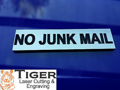 NO JUNK MAIL - LASER ENGRAVED LETTERBOX SMALL SIGN - 6cm x 1.5cm - TLC-001