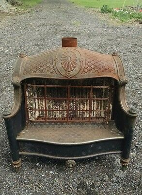 Antique Victorian Fireplace Insert Humphrey Radiant Fire  Enameled Heater