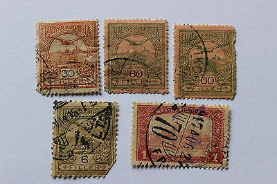 Collection of antique used postal stamps, Turul over Crown, Hungary, 1900-1901