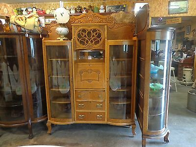 solid ,3 drawers oak double china curved glass doors secretary in center