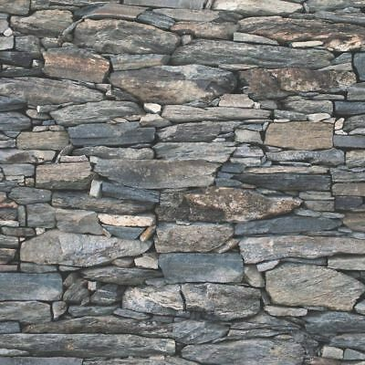 3D Realistic Brick Effect Wallpaper Stone Slate Rustic Weathered Debona Charcoal