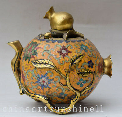 Rare Oriental Chinese Old Cloisonne Incense Burner Handmade Carved leaves Statue