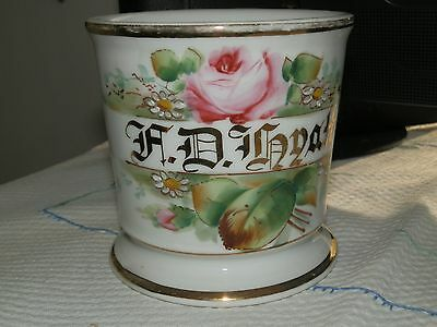 Antique Shaving Mug - Flowers-with Name in Heavy Gold