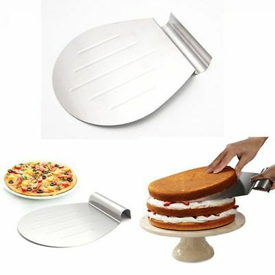 Stainless Steel Cake Shovel Pizza Pie Lifter Holder Shifter Tray Moving Plate