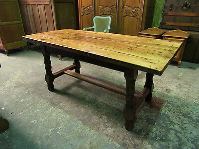 Antique heavy solid plank top oak French farmhouse kitchen,refectory, table,