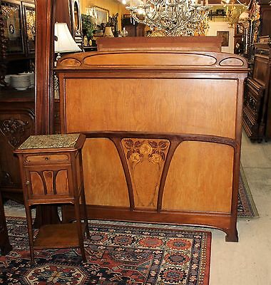 Beautiful Antique French Art Nouveau  Full Size Bed & Nightstand.