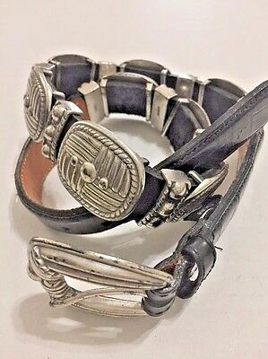 """Brighton Black Leather Belt with Silver tone Ornaments Size 25"""" to 28"""" SM wester"""