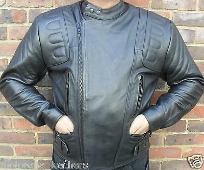 Mens Black Motorcycle Motorbiker Armour Padded Classic Racer Leather Jacket