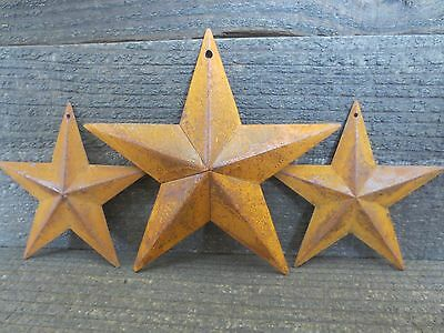 Lot of 3 Rusty Tin Barn Stars 5.5 & 3.75 inch Dimensional Primitive Country Rust