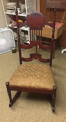 Antique Dark Wood Wooden Rocking Chair Spring Upholstery Spindle