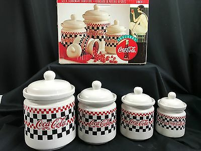 Coca-Cola Four Piece Canister Set Checkerboard Design Gibson 1996 New in Box