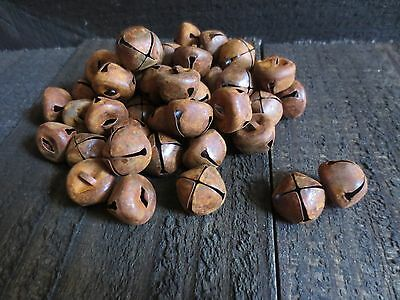 """Lot of 50 Primitive Country .75 inch Rusty Metal Jingle Bells 3/4"""" Rusted Crafts"""