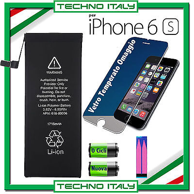 BATTERIA PER APPLE IPHONE 6S 1715mAh RICAMBIO PARI A ORIGINALE - 0 CICLI + VETRO