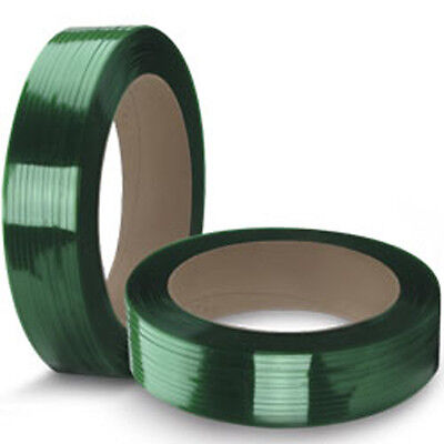 """CWC Polyester Strapping - 5/8"""" x .035"""" x 4000', Green, 16"""" x 6"""" Core"""