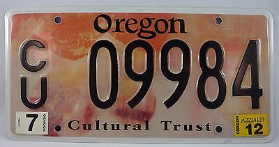 Oregon Cultural Trust License Plate #CU09984 ~ Low Number Early Issue