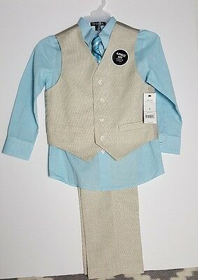 GEORGE Boy's VEST SET 4-Piece SHIRT, TIE, VEST & PANTS Aqua Size 10