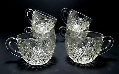 6 McKee Glass Concord Pattern Punch Bowl Cups Vintage 8 oz Clear Pressed EAPG