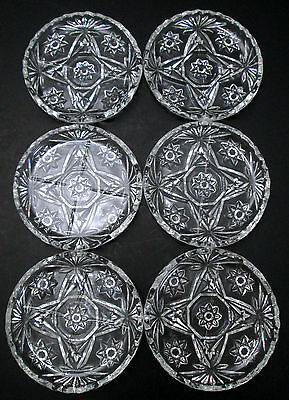 "6 Anchor Hocking Early American Prescut 3 3/4"" Coasters Star of David EAPC Set"