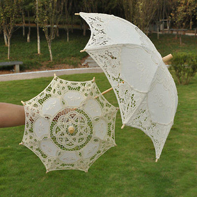 Romantic Women Lady Handmade Parasol Lace Umbrella Wedding Bridal Decoration