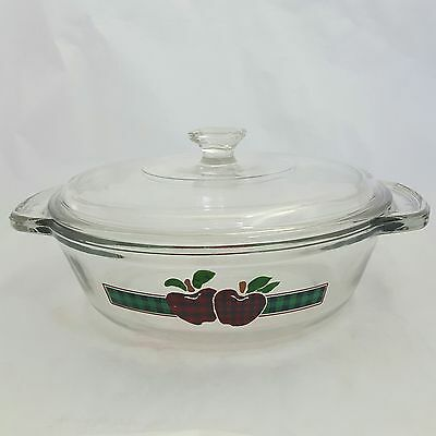 Anchor Ovenware Covered Casserole Dish Plaid Apple Motif 1.5 Quart