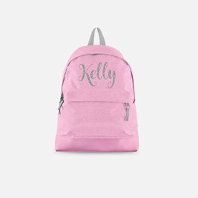 Personalised Backpack with ANY NAME in Silver Glitter - Back To School Bag Cute