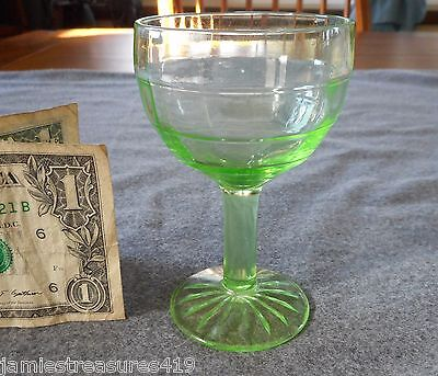 "Anchor Hocking Green Depression Uranium  Block Optic 3 Ounce 4"" Cocktail #2"