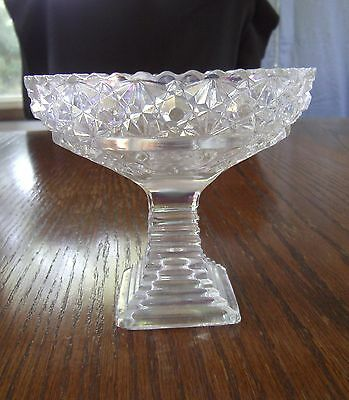 L.e. Smith/mckee White Carnival Glass Iridescent Innovations Pattern #42 Compote