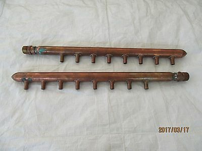 "Lot Of (2) Copper Pex Manifolds 8 Port Closed 3/4"" Opening Spun & Sweated On End"