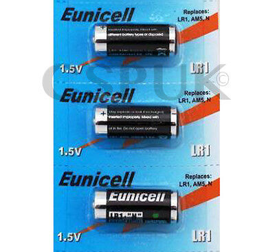 3x Genuine Eunicell LR1 batteries Equivalent MN9100/AM5/N 1,5 V Blister Pack