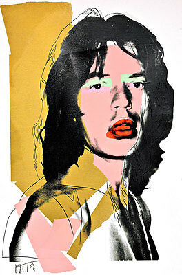 Mick Jagger A2 by Andy Warhol High Quality Canvas Art Print