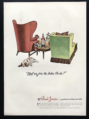 1944 Vintage Print Ad 1940s PAUL JONES Color Illustration Furniture Glass Drink