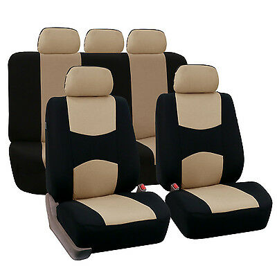 9 Part Car Seat Covers Set for Auto w/Head Rests 4 Color Steering Wheel/Belt Pad