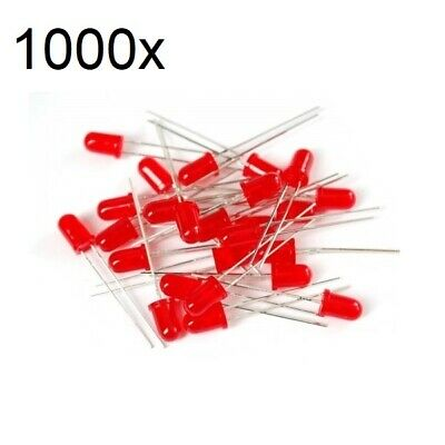 100x Red LED 5mm Wide Angle Diffused 3V Light Emitting Diodes Bright Round PCB