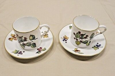 Royal Worcester Bone China, Made In England, Demitasse Cup And Saucer, Pair, Eve