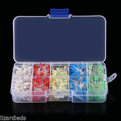 500x LEDs Round Assorted Colors 3mm 3V Storage Case Green/White/Red/Blue/Yellow
