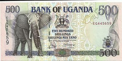 Uganda 500 Shillings - P 35a from 1996 - Beautiful Note - Elephant