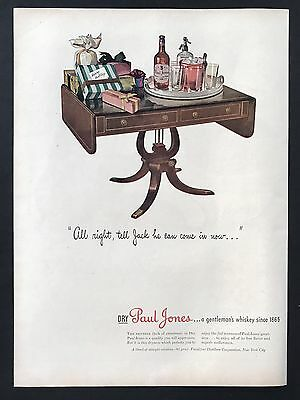 1944 Vintage Print Ad 1940s PAUL JONES Whiskey Table Illustration Liquor Bottle