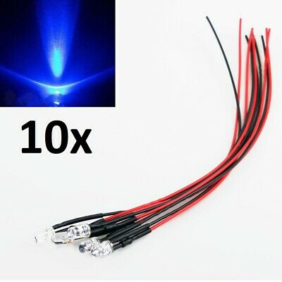 "10x Blue LED Light Individual Single Bulb with Attached 9"" Wire Bright 12V DC"