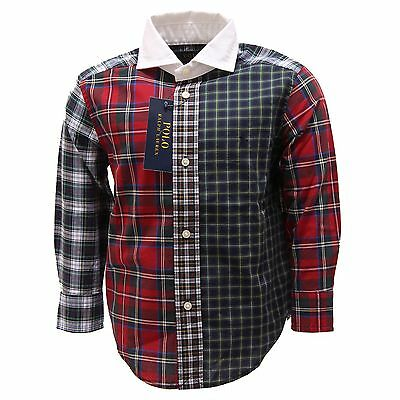 0818T camicia bimbo RALPH LAUREN quadri multicolor shirt long sleeve kid