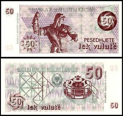Albania 50 Lek Valute Paper Money Banknote of 1992. P#50b without serial no. UNC
