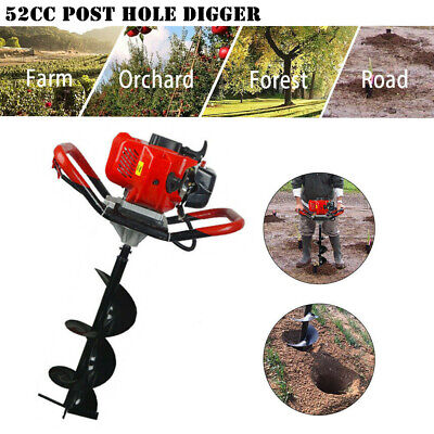 """52CC Gas Powered Post Hole Digger W/ 6""""/10"""" Earth Auger Power Engine"""