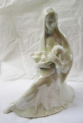 Rare Vintage Ceramic Virgin Mary Baby Jesus Figurine Opalescent Madonna & Child