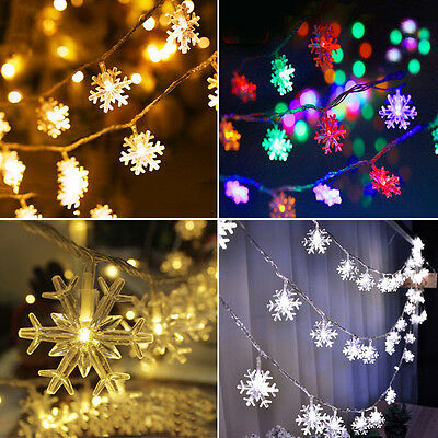 70 LED String Snow Lights Outdoor Garden Xmas Wedding Lamp 10-50M Decor Plug