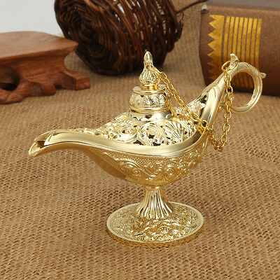 Metal Carved Legend Lamp Aladdin Magic Genie Light Wish Pot Fancy Dress Decor